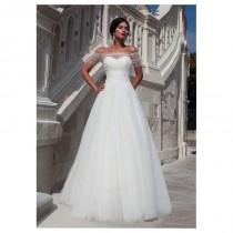 wedding photo - Elegant Tulle Off-the-shoulder Neckline A-line Wedding Dress With Beaded Lace Appliques - overpinks.com