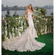 wedding photo - Eve of Milady Fall/Winter 2016 Style 4349 Blush Chapel Train Elegant Fit & Flare Appliques Open Back Lace Wedding Dress - Crazy Sale Bridal Dresses