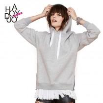wedding photo - Boyfriend Oversized Vogue Split Zipper Up Hoodie Sport suit Hat Coat - Bonny YZOZO Boutique Store