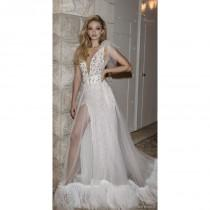 wedding photo - Dany Mizrachi Spring/Summer 2018 DM05/18 S/S Vogue Beading Chapel Train Tulle Ivory Ball Gown V-Neck Sleeveless Bridal Gown - Brand Wedding Store Online