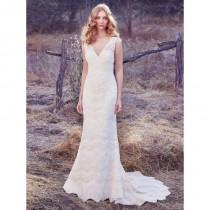 wedding photo - Maggie Sottero Fall/Winter 2017 Brynn Square Elegant Ivory Sheath Sleeveless Sweep Train Lace Wedding Gown - Charming Wedding Party Dresses