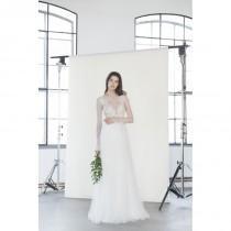 wedding photo - Divine Atelier 2018 Tiara White Sweet Sweep Train Aline Illusion Flare Sleeves Tulle Beading Bridal Dress - Bonny Evening Dresses Online