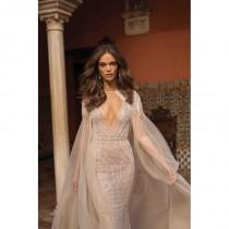 wedding photo - Berta Fall/Winter 2018 Style 18-117 Tulle Beading Sweep Train V-Neck Sexy Nude Fit & Flare Sleeveless Bridal Gown - Rolierosie One Wedding Store