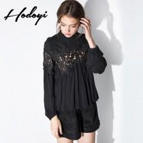 wedding photo - Vogue Sexy Sweet Hollow Out High Neck Summer 9/10 Sleeves Lace Chiffon Top - Bonny YZOZO Boutique Store