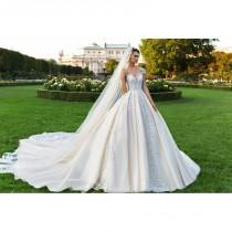 wedding photo - Crystal Design 2018 Royce Royal Train Satin Sweet Champagne Illusion Cap Sleeves Ball Gown Beading Dress For Bride - Crazy Sale Bridal Dresses