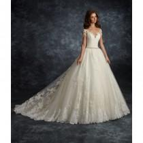 wedding photo - Ira Koval 2017 605 Ivory Chapel Train Sweet Ball Gown Short Sleeves Illusion Lace Appliques Covered Button Dress For Bride - 2018 Unique Wedding Shop