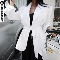 wedding photo - Must-have Casual Oversized Simple Long Sleeves Cotton Ramie Summer Cardigan Coat Belt - Lafannie Fashion Shop