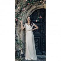 wedding photo - Laure de Sagazan 2017 Beauregard Floor-Length Vintage Ivory Scoop Neck Column Short Sleeves Garden Chiffon Appliques Bridal Gown - Fantastic Wedding Dresses