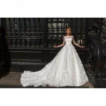 wedding photo - Crystal Design 2018 Kayla Royal Train Sweet Hand-made Flowers Lace Winter Ball Gown Off-the-shoulder Long Sleeves Bridal Dress - Designer Party Dress & Formal Gown