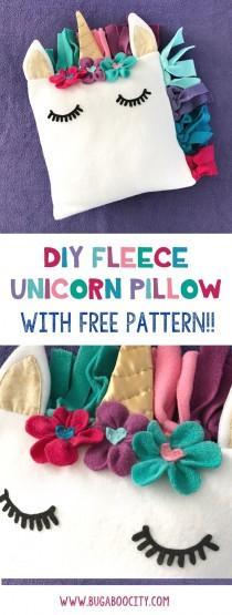 wedding photo - DIY Fleece Unicorn Pillow With Free Pattern