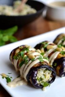 wedding photo - Herby Couscous Stuffed Eggplant Rolls