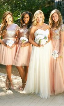 wedding photo - Two Piece Cap Sleeves Bridesmaid Dress Rose Gold Formal Gown