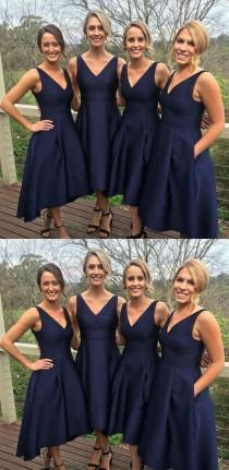 wedding photo - Princess Bridesmaid Dresses, Navy Bridesmaid Dresses, Short Bridesmaid Dresses With Pleated Sleeveless Straps WF02G49-798