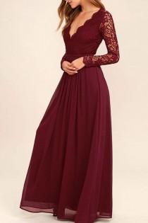 wedding photo - Dark Burgundy Lace Long Sleeves V Neck Cheap Bridesmaid Dress Prom Dresses Evening Gowns LD300