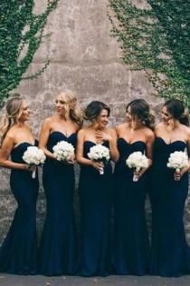 wedding photo - Elegant Cheap Sweet Heart Navy Mermaid Long Bridesmaid Dresses BD032