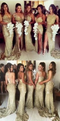 wedding photo - Sheath Jewel Illusion Back Gold Sequined Bridesmaid Dress With Split Appliques