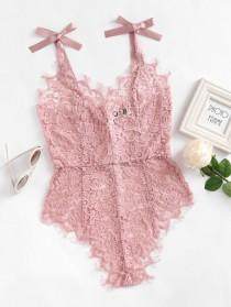 wedding photo - Ribbon Tie Shoulder See Though Floral Lace Bodysuit