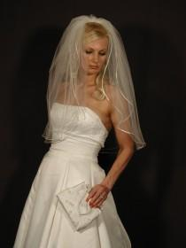 "wedding photo - wedding veil  2 layer 30"" long elbow length with satin ribbon corded 1/8"""