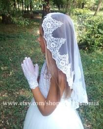 wedding photo - First Communion Veil + Gloves, White Communion Accessory, Mantilla Communion, First Communion Gloves, Gloves with lace,  Little girls gloves