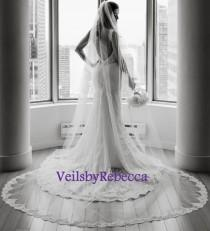 wedding photo - 1 tier Cathedral lace veil with lace from fingertip/wrist length,Partial lace cathedral wedding veil, long cathedral lace veil V638
