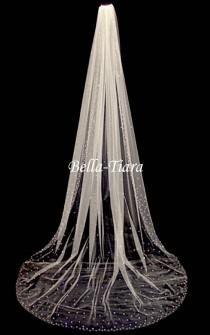 wedding photo - cathedral crystal veil, cathedral veil, chapel crystal wedding veil, royal wedding veil, crystal edge wedding veil - FREE BLUSHER
