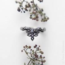 wedding photo - Moonstone Engagement Ring, Unique Wedding Ring, Leaf Engagement Ring, Vine Wedding Band, Moon Stone, Woodland Dragon Ring