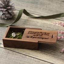 wedding photo - Walnut Wood Box- Custom Engraving Included ( Ring Box , USB Box , Small Box , Tiny Box , Engraved Box , Ring Bearer Box )
