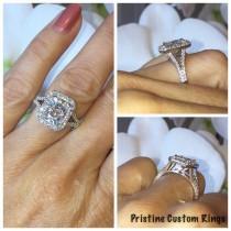 wedding photo - Forever One Moissanite Engagement Ring 2.80ct Radiant Cut Ring .65ct Genuine Diamonds Halo Wedding 14kt White Gold pristine custom rings