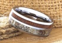 wedding photo - Tungsten Ring, Men's Tungsten Wedding Band, Men's Tungsten Ring, Tungsten Band, Antler, Men's Tungsten, Personalized Engraving, Men's Ring