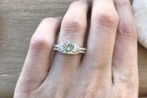 wedding photo - Aquamarine Bridal Set Ring- Aquamarine Promise Ring- Engagement and Wedding Ring- Prong Round Aquamarine Ring- March Birthstone Ring