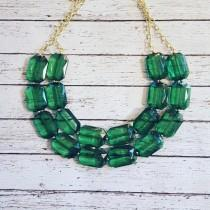 wedding photo - FREE EARRINGS, Emerald Green Transparent Chunky Statement Bib Necklace...Purchase 3 or more get 10% off