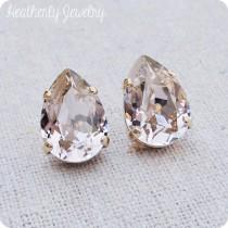 wedding photo - Swarovski Blush Pink Crystal Teardrop Rhinestone Pear Rose Gold Post Earrings Wedding Bridal Jewelry Bridesmaids Presents Gift for Her