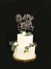 wedding photo - Custom Wood Rose Metallic Gold Wedding Cake Topper With Date