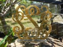 wedding photo - Custom Wedding Monogram Personalized Cake Topper gold glitter