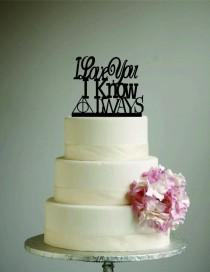 wedding photo - Harry Potter Star Wars Wedding Cake Topper - I love you I know Always - I Love you know - After All this time always - nerd wedding