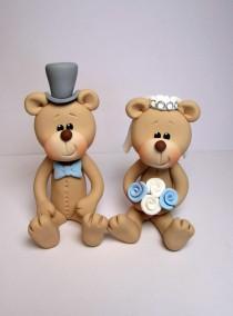 wedding photo - Bride And Groom Bear Wedding Cake Topper,