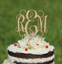 wedding photo - Rustic Wooden Monogram Wedding Cake topper - Wooden cake topper - Personalized Cake topper