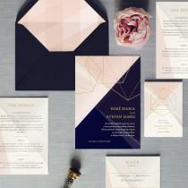 wedding photo - Prism - Luxury Wedding Invitation - Silver, Gold or Rose Gold foil. Featuring sparkling pearl card or real metallic foil. Diamonds geometric