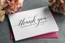 wedding photo - Wedding Thank You Note Card Set - Cute Thank You for Being a Part of Our Special Day Vendor, Florist, Caterer, DJ, Venue etc (Set of 5) CS13