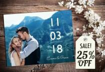wedding photo - Save The Date Magnet, Card or Postcard . Modern Clean Vertical Date