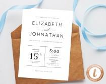 wedding photo - INSTANT DOWNLOAD Wedding invitation template, Printable Wedding Invitation Suite, Modern Simple Wedding Invitation Set, Templett, W02