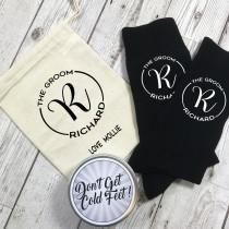 wedding photo - Monogram Groom Personalised Socks with tin and Personalised Gift Bag Wedding Morning gift