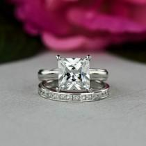 wedding photo - 3.25 ctw Princess Cut, Bridal Set, Solitaire Engagement Ring, Man Made Diamond Simulants, Wide Wedding Band, Promise Ring, Sterling Silver