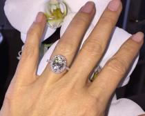 wedding photo - Moissanite Engagement 3.0ct Forever Brilliant Oval Ring .75ct Genuine Diamond Ring 18k White Gold Classic Halo Ring Pristine Custom Rings