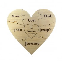 wedding photo - Custom Family Wooden Heart Puzzle - Family Unity Puzzle - Pregnancy Puzzle - Wedding Announcement Puzzle - Baby Reveal - 7 PC - Engraved