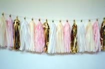 wedding photo - wedding tassel garland // Bubbly bar Garland // Pink and Gold // Bridal Shower Decor // Wedding Decor
