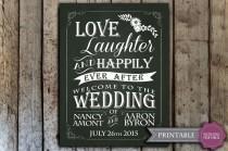 wedding photo - wedding chalkboard sign, wedding welcome sign, printable chalkboard wedding sign, digital download