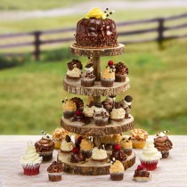 wedding photo - Country Rustic Wood  4-Tier Rustic Wood Slice Wedding Party Home Decor Cupcake Stand: 12 X 16.25 inches