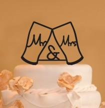 wedding photo - Guinness Beer glasses Wedding Cake Topper - Mr. and Mrs. with ampersand wedding cake topper - beer glass cake topper -