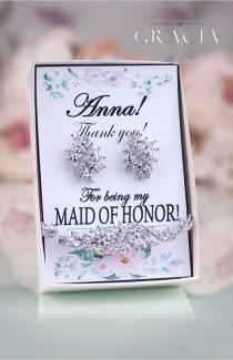 wedding photo - ROXANE Personalized Bridesmaids Thank You Gift For Maid Of Honor Jewelry Set